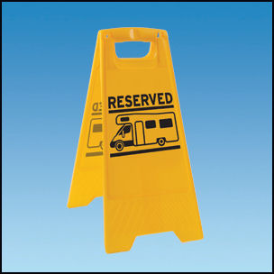 Motorhome Reserved Pitch Sign Yellow
