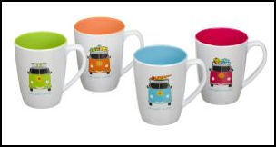 VW CAMPER SMILES 4PK MUG SET