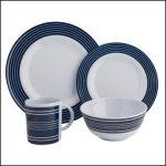 Melamine Set Navy Pinstripe - 16 Piece